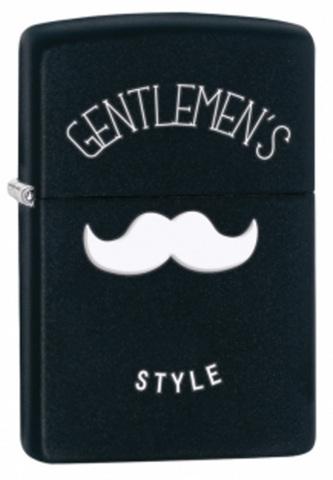 Зажигалка Zippo Gentleman's Style, латунь с покрытием Black Matte, чёрная, матовая, 36х12х56 мм