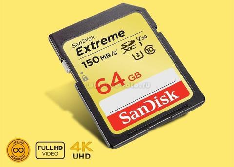 Карта памяти SDXC  64GB  SanDisk Class 10 Extreme V30 UHS-I U3 (150 Mb/s)