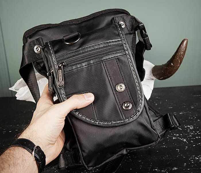 BAG397-1 Набедренная сумка черного цвета из ткани «Оксфорд» фото 06