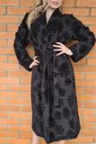 Черный махровый халат с цветами Luna di Giorno