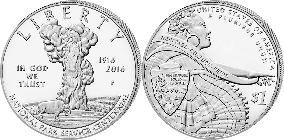 1 доллар 2015 год. США . 100 лет Службе национальных парков США Серебро. PROOF
