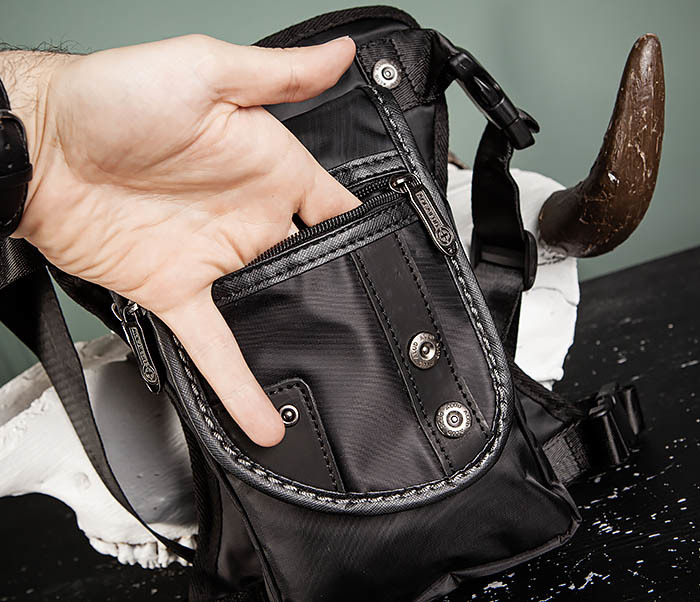 BAG397-1 Набедренная сумка черного цвета из ткани «Оксфорд» фото 07