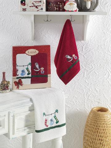 Салфетки махровые новогодние NOEL 30x50 см 2шт в уп. цвет V5