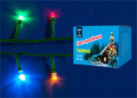 UDL-S0500-100/DGA MULTI IP20 MINI Гирлянда с контроллером, 5м. 100 миниламп накаливания. Разноцветный свет. Провод зеленый. TM Uniel.