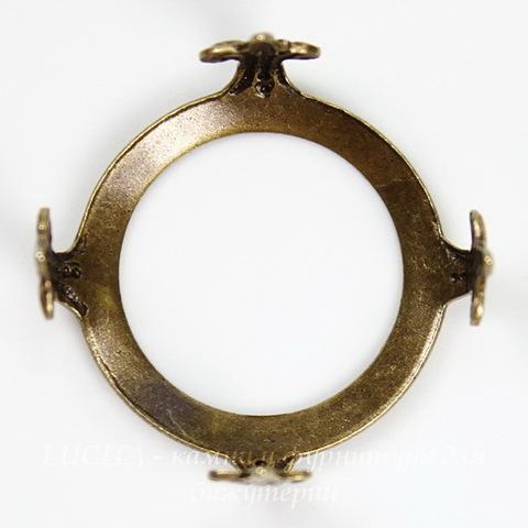 """Сеттинг - основа """"Черепашка"""" для камеи или кабошона 19 мм (оксид латуни)"""