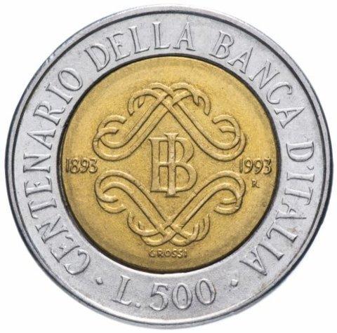 500 лир. 100 лет Банку Италии. Италия. 1993 год. XF-AU