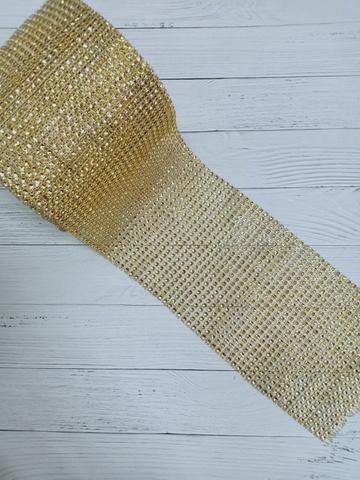Стразы на тканевой основе, золото, размер  11.5 см*100см