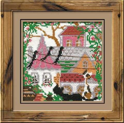 Набор для вышивания крестом «Город и кошки. Лето» (612)