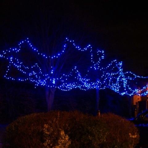 Купить гирлянду нить синюю синий цвет на деревья гирлянда нити