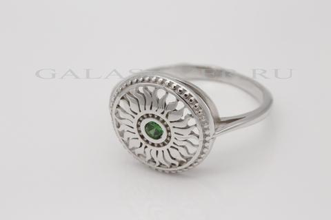 Кольцо с нано изумрудом из серебра 925