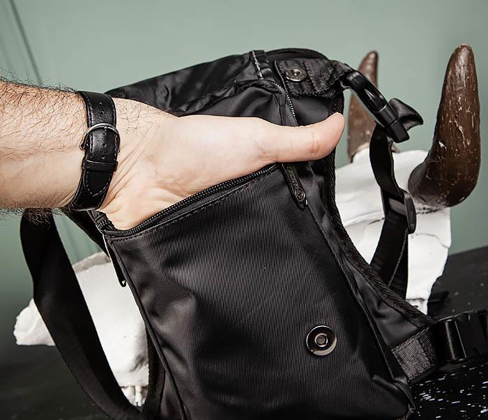 BAG397-1 Набедренная сумка черного цвета из ткани «Оксфорд» фото 09