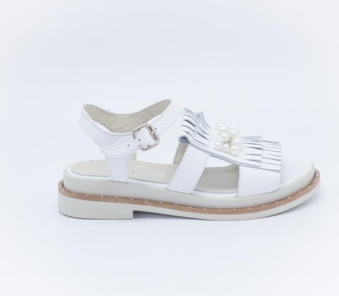 Белые кожаные сандалии на платформе