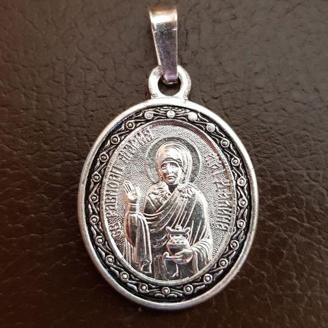 Нательная именная икона святая Мария с серебрением кулон с молитвой