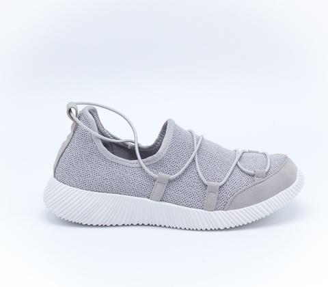 Серые кроссовки из текстиля на платформе