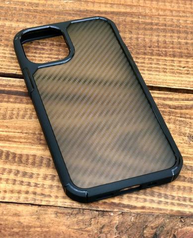 Чехол iPhone 12 /5,4''/ iPaky Carbone Case /black transparent/
