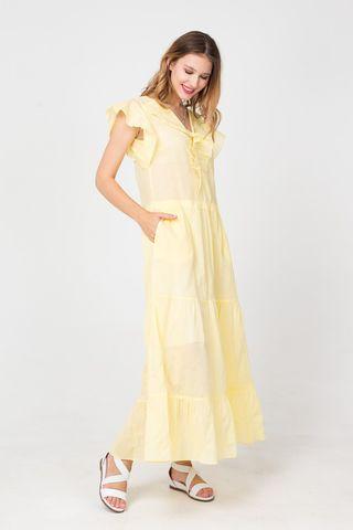 Фото приталенное хлопковое желтое платье с цветочным принтом - Платье З372-327 (1)
