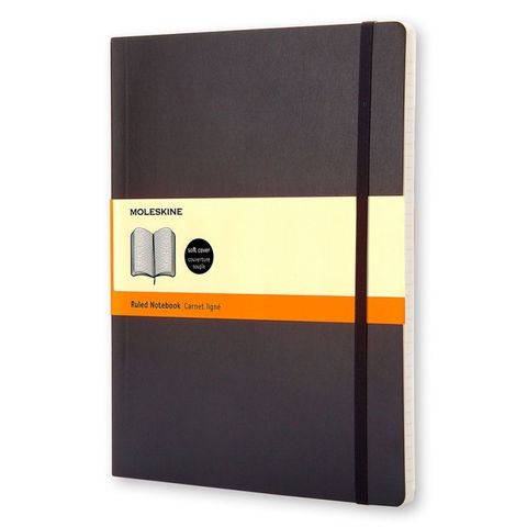 Блокнот Moleskine CLASSIC SOFT QP621 XLarge 190х250мм 192стр. линейка мягкая обложка черный