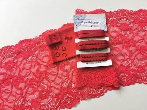 Набор 1. Минимальный: для пошива бра без каркасов и трусиков. Красный (алый) EK-1026