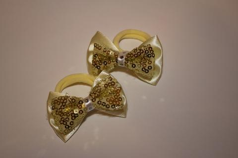 Бантик с пайетками маленький цвета шампань (арт.1003 шам)
