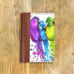"""Обложка на паспорт комбинированная """"Попугаи"""", рыжая"""