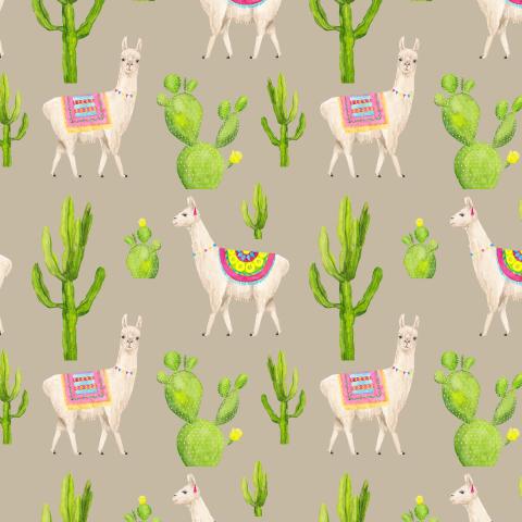 Ламы и кактусы, Летний акварельный яркий принт на бежевом
