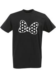 Футболка с однотонным принтом Минни Маус (Minnie Mouse) черная 002