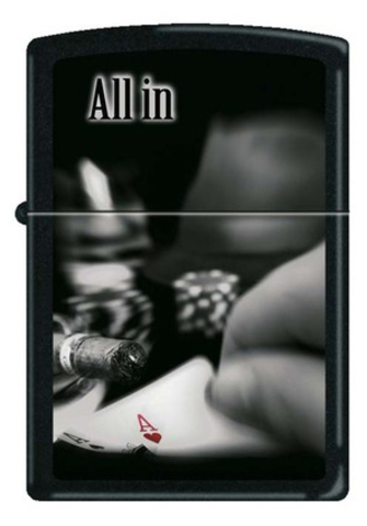 Зажигалка Zippo All In, латунь с покрытием Black Matte, чёрная, матовая, 36x12x56 мм