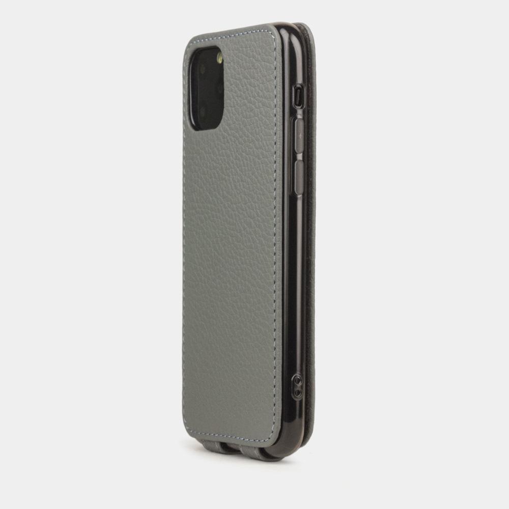 Чехол для iPhone 11 Pro Max из натуральной кожи теленка, стального цвета
