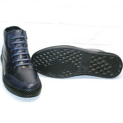 Кожаные мужские ботинки на толстой подошве Luciano Bellini BC2802 L Blue.