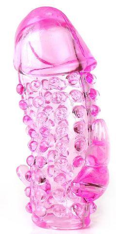 Розовая насадка со стимуляторами ануса и клитора - 12,5 см.
