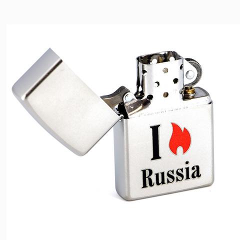 Зажигалка Zippo Flame Russia с покрытием Satin Chrome™, латунь/сталь, серебристая, матовая