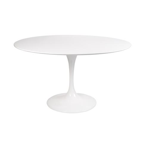 Стол Eero Saarinen Style Tulip Table MDF белый D120 глянцевый
