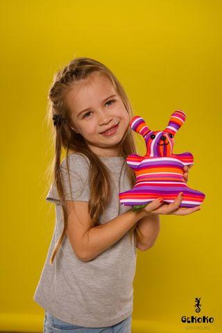 Подушка-игрушка антистресс Gekoko «Розовая Полосатая Зая»