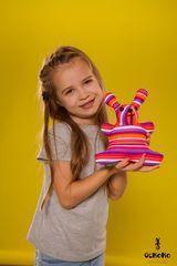 Подушка-игрушка антистресс Gekoko «Розовая Полосатая Зая» 1
