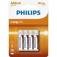 Батарейки Philips LongLife R03, AAA (4/48) BL