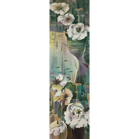 Шелковый шарф батик Цветы на воде С-57