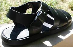 Босоножки мужские сандалии из натуральной кожи. Черные босоножки сандалии на лето Broni Black.   42 размер