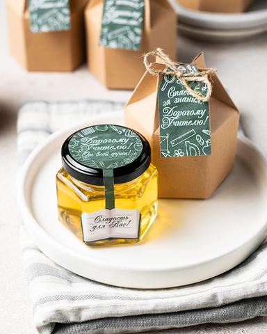 Сладкий подарок (комплимент) учителю, 6 баночек с медом по 140 грамм в подарочной коробочке с поздравительной биркой-открыткой