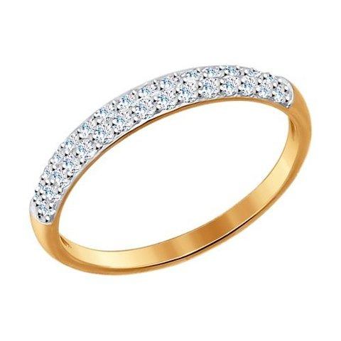 017149 - Тонкое кольцо из золота с фианитами