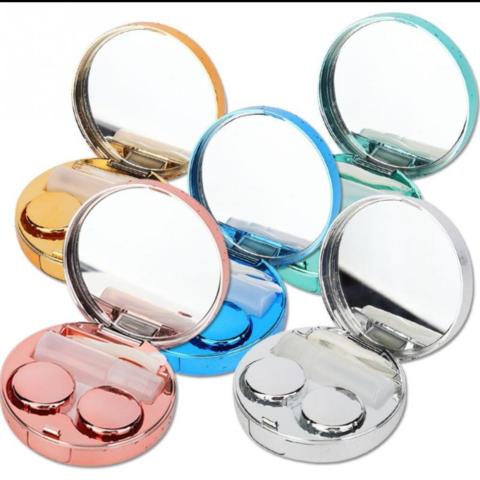 Круглый голубой дорожный контейнер для цветных и контактных линз