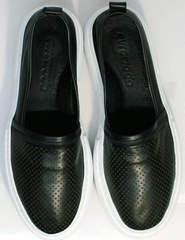 Слипоны черные кожаные женские Evromoda 457.024e White Black.