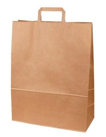 Пакеты крафт 320х200х370 мм бумажные с плоскими ручками крафт70