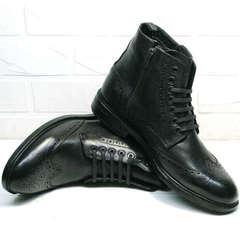 Черные зимние ботинки на меху мужские LucianoBelliniBC3801L-Black.