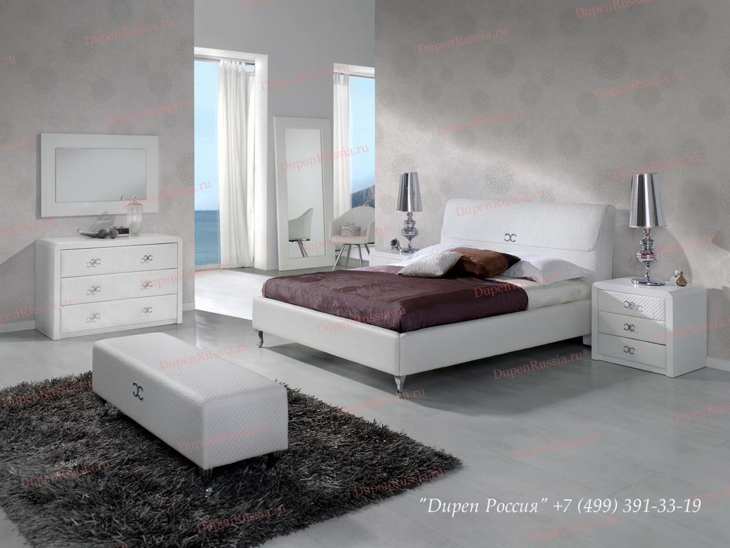 Кровать DUPEN 887 EMILY, тумбочка DUPEN M-122, Комод DUPEN C-122, банкетка DUPEN B-26