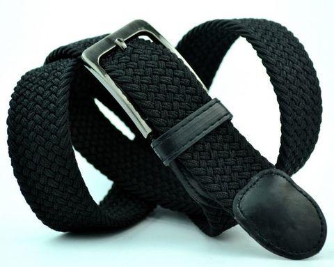 Ремень-резинка мужской текстильный чёрный 35 мм 35Stropa-R-006