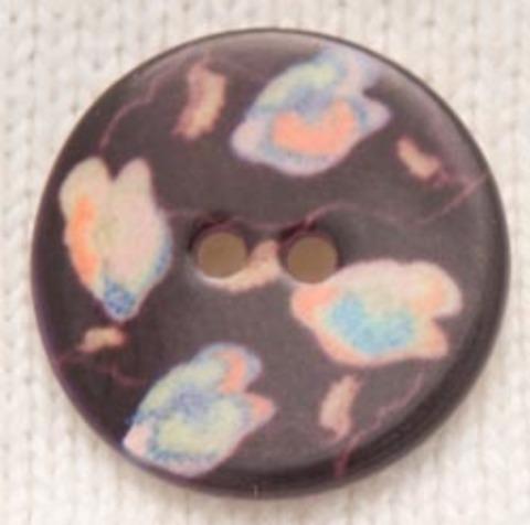 Пуговица тёмно-коричневая с разноцветными вставками, 22 мм