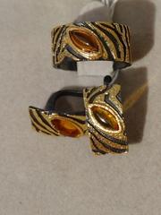 Парча-черный  (кольцо + серьги из серебра)
