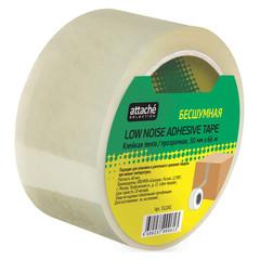Скотч клейкая лента упаковочная Attache Selection прозрачная 50 мм x 66 м толщина 48 мкм (бесшумная)