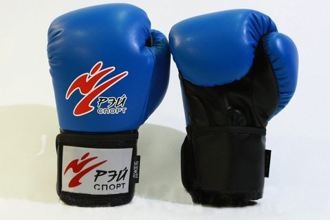 лБ52И8 Перчатки боксерские  ДЖЕБ, 8oz, искожа, разм.S (цвет синий) (Джеб)