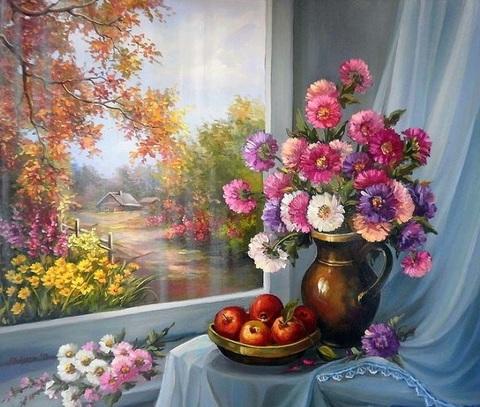 Алмазная Мозаика 40x50 Цветы на окне с видом на осень (арт. S052)